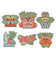 different colored stickers and badges set vector image