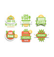 eco fresh food labels set natural vegan food gmo vector image vector image