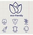 Eco-friendly fabric feature icons vector image