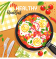 egg frying pan vector image vector image