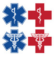 emt nurse doctor caduceus medical symbols vector image