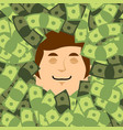 face in money head in dollars financial lucky vector image
