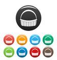farm basket icons set color vector image