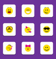 flat icon emoji set of party time emoticon vector image vector image
