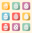 Flat icon of Easter ornate eggs long shadow style
