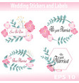 floral wedding stickers and labels vector image vector image