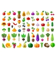 fresh food vegetables and fruits icons set vector image