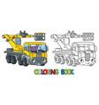 funny telescopic boom lift car coloring book vector image vector image