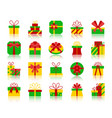 gift simple flat color icons set vector image