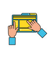 hands user with webpage template media vector image