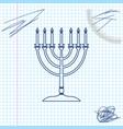 hanukkah menorah line sketch icon isolated on vector image vector image