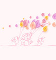 happy easter card cute rabbit with air balloons vector image vector image