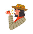 happy farm woman holding fresh red apple fruit vector image