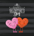 happy valentines day card couple love hearts vector image