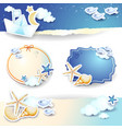 holidays on the beach set of paper elements vector image