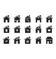 home icons black flat homes shapes houses vector image vector image