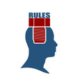 human head with word rules flat icon vector image