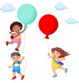 kids cartoon hanging on balloon vector image