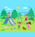 kids playing at the park vector image vector image