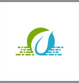 leaf and water blue logo template vector image vector image