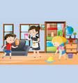 maid and kids cleaning the room vector image vector image