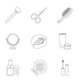 make up set icons in outline style big collection vector image vector image