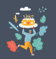 man holding birthday cake with candle vector image