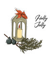 merry christmas traditional art with candle tree vector image vector image