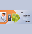 online mobile app money concept top angle view vector image