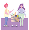 people hoarding purchase characters with shopping vector image