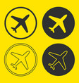 plane icon shape button set vector image