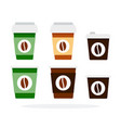 plastic disposable cups for coffee flat isolated vector image