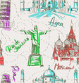Seamless pattern of famous landmarks vector image