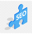 seo blue puzzle isometric icon vector image