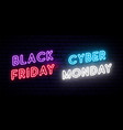 Set black friday and cyber monday neon designs