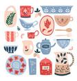 set ceramic kitchen utensils in flat cartoon vector image vector image