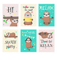 set of cards with cute sloths and quotes vector image vector image