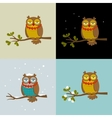 Set of with fashionable owls vector image vector image