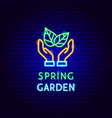 spring garden neon label vector image vector image