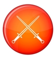 Swords icon flat style vector image