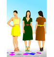 three young model women vector image vector image