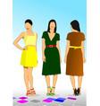 three young model women vector image vector image