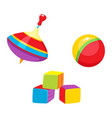 toys - ball cubic blocks whirligig toy vector image