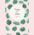 wedding event invitation tropic green leaves pink vector image vector image