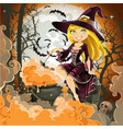 witch with potion in pot sits in cemetery vector image vector image