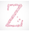 Z letter Alphabet from pink petals of rose vector image vector image