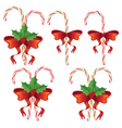 Candy Canes with Bow Set vector image