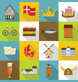 denmark travel icons set flat style vector image