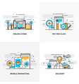 flat line designed concepts 8-colored vector image