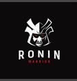 aggressive samurai ronin japanese warrior logo vector image